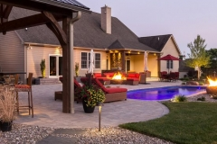 Pool with fireplace greenville pools 5